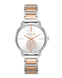 Michael Michael Kors 37Mm Portia Crystal Bracelet Watch Silver