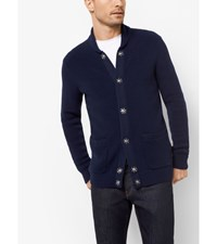 Cotton And Cashmere Ribbed Cardigan Midnight
