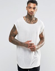 Asos Super Longline T Shirt With Curved Hem In Linen Mix Ecru White