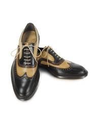 Forzieri Italian Handcrafted Two Tone Wingtip Oxford Shoes Black