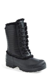 Hunter Original Genuine Shearling And Leather Lace Up Rain Boot Black