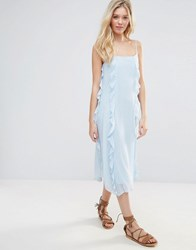 Warehouse Ruffle Spot Midi Dress Light Blue
