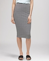 Whistles Skirt Stripe Jersey Tube Midi Black White