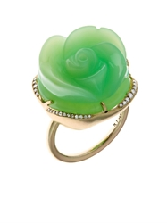Irene Neuwirth Diamond Green Opal And Gold Flower Ring
