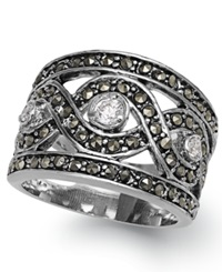 City By City Silver Tone Marcasite And Glass Stone Ring No Color