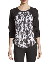 Xcvi Tie Dye Raglan Long Sleeve Active Tee Black White