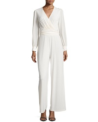 Neiman Marcus Long Sleeve Shirred Jumpsuit Frosting