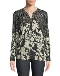 66a5a113211a40 Tolani Everly Long Sleeve Floral Print Silk Blouse Ebony