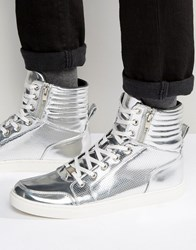 Asos High Top Trainers In Silver Metallic With Zips Silver