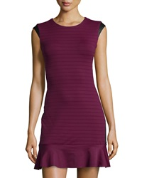 La Pina Flare Hem Ribbed Leather Trim Dress Purple