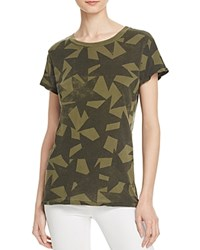 Current Elliott The Crewneck Star Print Tee Army Green Starstruck