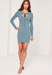Missguided Zip Front Cut Out Bodycon Dress Blue Blue