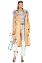 Sandy Liang Leesi Trench Coat With Lamb Shearling In Neutrals