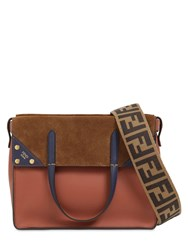 Fendi Small Flip Leather And Suede Bag Rust