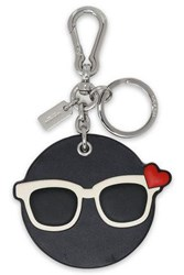 Coach Leather And Silver Tone Keychain Black