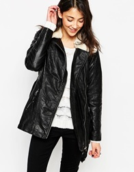 Vero Moda Pu Belted Biker Jacket With Shearling Collar Black