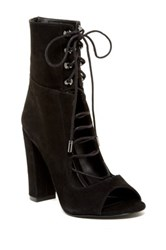 Kendall And Kylie Ella Lace Up Peep Toe Bootie Black