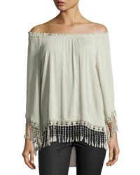 Neiman Marcus Ruffled Off The Shoulder Top Sage