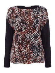 Hugo Boss Enake Snake Print Front Jersey Top Multi Coloured Multi Coloured
