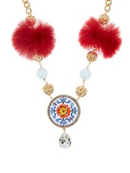 Dolce And Gabbana Majolica Fur Crystal Embellished Necklace Red Multi