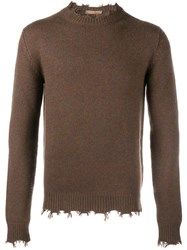 Etro Frayed Edge Jumper Brown