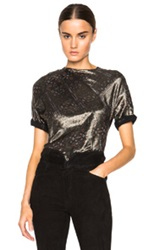 Isabel Marant Louna Printed Shiny Top In Metallics Black Abstract