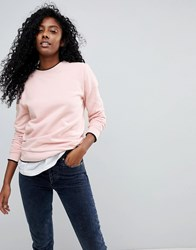 Selected Femme Sweatshirt With Contrast Trim Pink