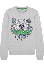 Kenzo Icon Embroidered Cotton Jersey Sweatshirt Light Gray