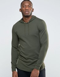 Asos Longline Muscle Zip Up Hoodie With Curved Hem And Side Zips Forest Nights Green