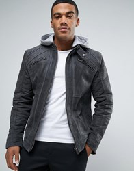 Barney's Barneys Premium Suede Biker With Jersey Hoody Jacket Grey