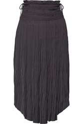 Ulla Johnson Akani Plisse Washed Satin Midi Skirt Anthracite