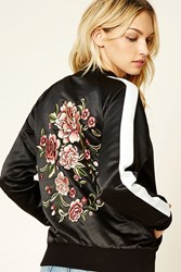 Forever 21 Contemporary Embroidered Jacket Black Ivory