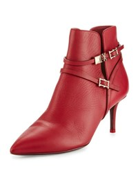 Valentino Leather Pointed Toe Buckle Bootie L43