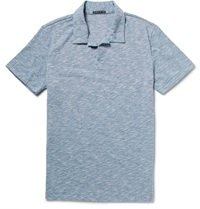 Theory Willem Melange Cotton Blend Jersey Polo Shirt Blue