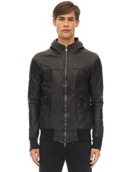 Giorgio Brato Hooded Stretch Leather Jacket Black