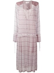 See By Chloe Striped Long Peasant Dress Pink Purple