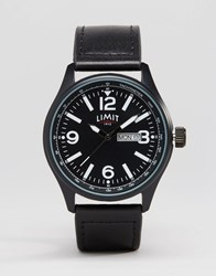 Limit Leather Watch In Black Black