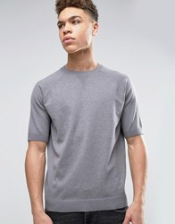 Asos Knitted T Shirt With Modesty V In Relaxed Fit Slate Grey