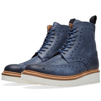 Grenson Fred V Brogue Boot Blue Ruff Out Suede