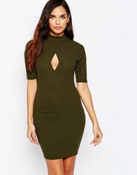 Ax Paris Bodycon Dresss With Key Hole And Three Quarter Sleeves Khaki Green