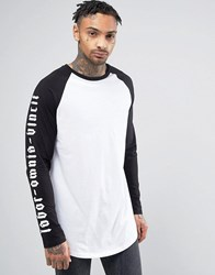 Asos Super Longline Long Sleeve T Shirt With Contrast Raglan And Gothic Print White Black