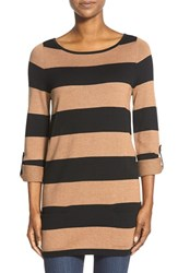 Caslonr Women's Caslon Knit Tunic Black Heather Camel Stripe