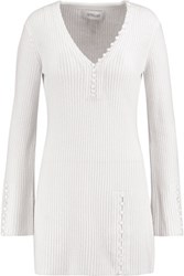 Derek Lam 10 Crosby By Button Detailed Ribbed Cashmere Sweater Cream