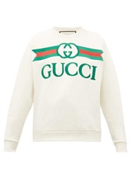 Gucci Logo Embroidered Loopback Cotton Jersey Sweater Beige Multi