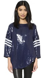 Tibi Baseball Sequin T Shirt Charcoal Navy Multi