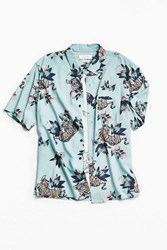 Urban Outfitters Uo Tiger Foliage Short Sleeve Button Down Shirt Sky