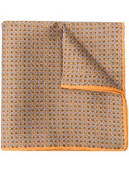 Canali Printed Pocket Square Scarf Brown
