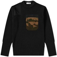 Gosha Rubchinskiy Ribbed Camo Pocket Crew Sweat Black