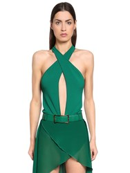 Elie Saab Crisscrossing Viscose Knit Bodysuit Green