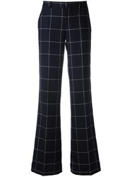 Pt01 Plaid Straight Tailored Trousers Blue
